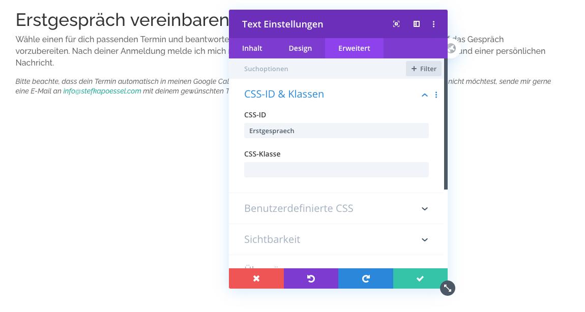 Sprungmarke setzen CSS ID