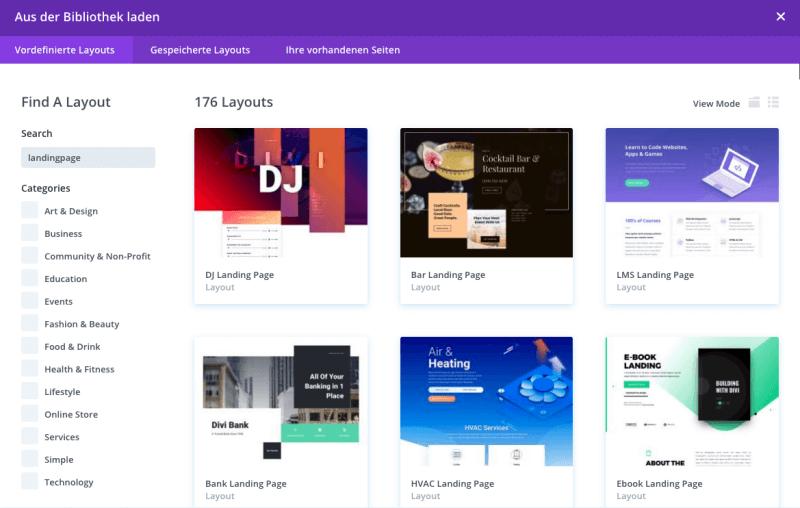 Tools Erstellung Landingpage: Vorlagen des Divi Themes